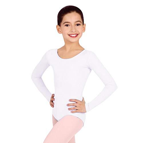IBAKOM Kinder Mädchen Langarm Tanzbody U-Ausschnitt Tanztrikot Ballett Gymnastik Bodysuit Ballsaal Ballettanzug Gymnastikanzug Weiß M