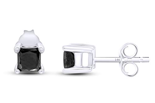 7/8 Ct Princess Cut Black Natural Diamond Solitaire Stud Earrings For Women Men 14K White Gold Post Clutch & Sterling Silver (0.90 Carat)