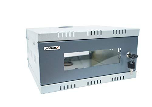 Crotomak 1U Rack - DVR Rack/CCTV Rack/NVR Rack/Server Rack/Network Rack with 3 Power Socket Plug - Transparent Glass Door - Metal Cabinet Box - Wall Mount (Size 1: 30cm X 30cm X 15cm)