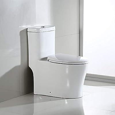 Woodbridge B0933-2/T-0033L T-0033 Dual Flush Elongated One Piece Toilet with Soft Closing Seat, White
