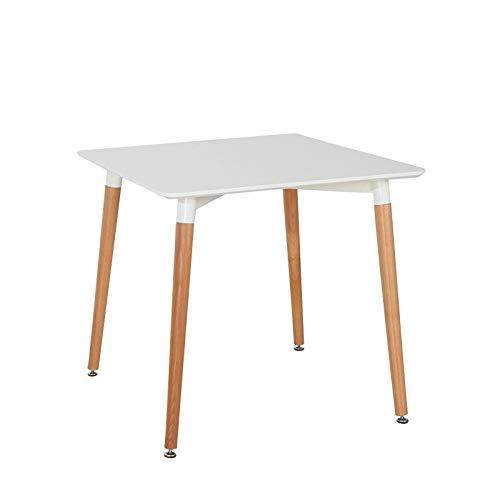 Beat Dining 80x80 Mesa patas madera y sobre madera blanco estilo nórdico para comedor, cocina , balcón , terraza interior