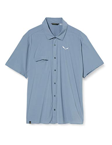 SALEWA Puez Minicheck2 Dry M L/S Camisa, Hombre, Flint Stone, 50/L