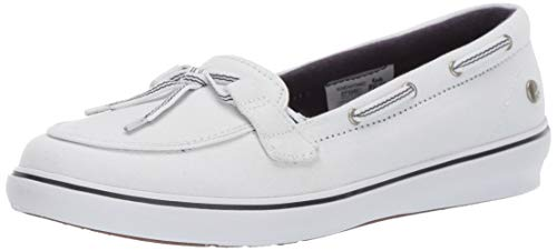 Grasshoppers Women's Windor Lace Core Slip On Boat Shoe, White, 9.5 W US