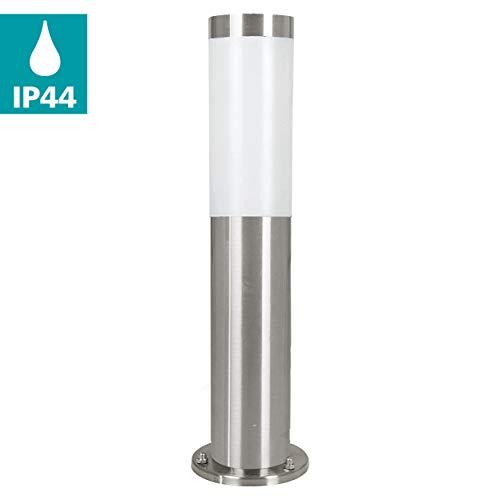 EGLO LED Außen-Wegelampe Helsinki, 1 flammige Außenleuchte, Wegeleuchte aus Edelstahl und Kunststoff, Farbe: Silber, weiß, Fassung: E27, IP44