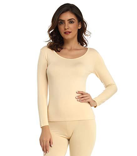 Mcilia Damen Ultradünnes Thermo-Unterhemd aus Modal mit Rundhalsausschnitt und langem Ärmel Beige Medium (EU 40 42)
