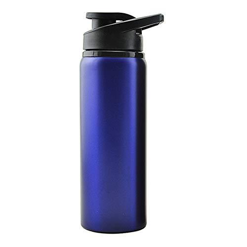 FMM Botella Deportiva Botella de Agua de Acero Inoxidable de Gran Capacidad A Prueba de Fugas Portátil al Aire Libre Deportes Fitness Escuela Acampada Senderismo Azul 700ml