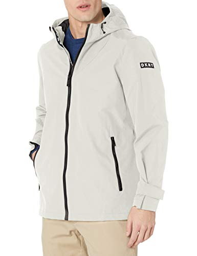 DKNY Men's Lightweight Taslan Hooded Rain Jacket, Light Grey, Small