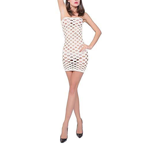gao Ropa Interior De Lencería Sexy para Mujer Vestido De Gasa Sexy Transparente Piernas Desnudas Glúteos Y Senos con Agujeros Muchos Colores,White