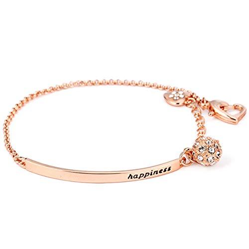 Lovans - Bracciale in acciaio INOX placcato oro rosa, con zirconi portafortuna e catena, regalo per donne e ragazze