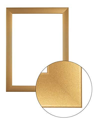 FramoLUXUS 55 cm x 115 cm MDF Holz Bilderrahmen in Farbe Gold schlicht