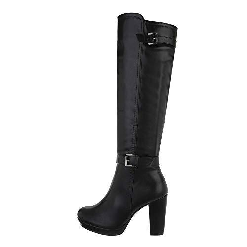 Ital Design Damenschuhe Stiefel High-Heel Stiefel, A680-1-, Kunstleder, Schwarz, Gr. 37