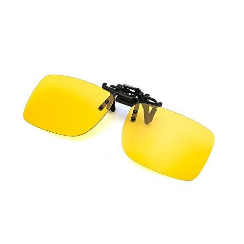 グラデーション偏光 サングラス クリップオン 釣り/ドライブ/野球/自転車/運転 前掛け ワンタッチ装着 男女兼用 偏光レンズ サングラス 眼鏡クリップ 黄色のクリップ (イエロー)