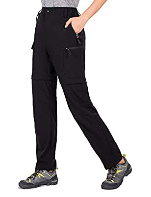 Cycorld Women's-Hiking-Pants-Convertible Quick-Dry-Stretch-Lightweight Zip-Off Outdoor Pants UPF 50+ with Pockets Black