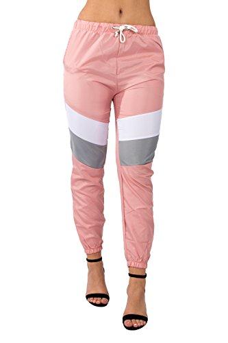 Loomiloo Hose Trackpants Slim-Fit Skinny Jogger Jogginghose Sporthose Pants Damen Rosa M (12)