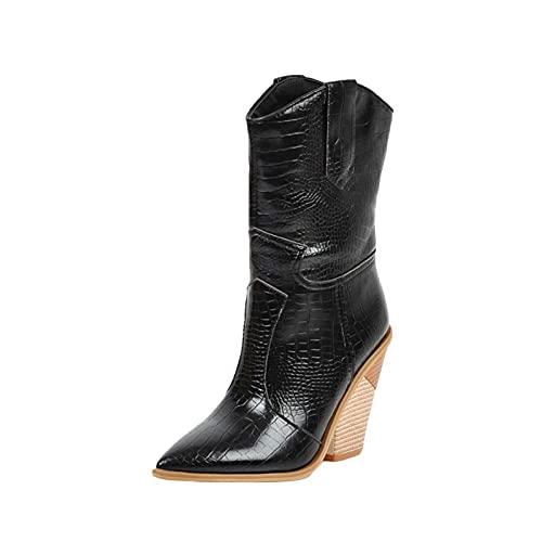 Botas de tobillo para mujer con tacón apilado y tacón alto con punta puntiaguda, botas occidentales, puntera cerrada, zapatos de alta comodidad para mujer, Black, 39.5 EU