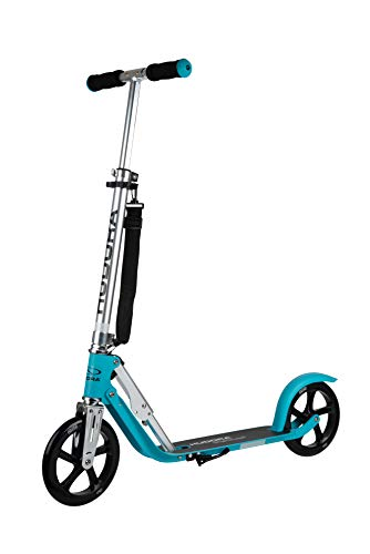 HUDORA BigWheel® 2020, ocean | Faltbarer Alu Big Wheel Scooter Roller 205 | Höhenjustierbar | Reflektoren | Umhängegurt