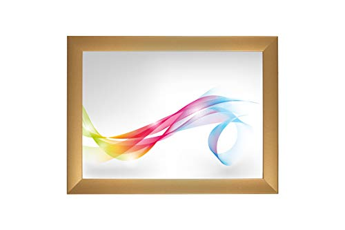 Framo \'Artist\' 53 x 77 Bilderrahmen (Gold schlicht) nach Maß, 35 mm breiter MDF-Holz Rahmen inkl. entspiegelter Anti-Reflex Acrylglasscheibe, stabilisierender Rückwand, Biegestiften und Aufhängern