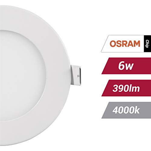 POPP- (Pack x 2 )downlight led Placa LED redondo.6W neutro,chip OSRAM,(4000K, 6W)[Clase de eficiencia energética A+]