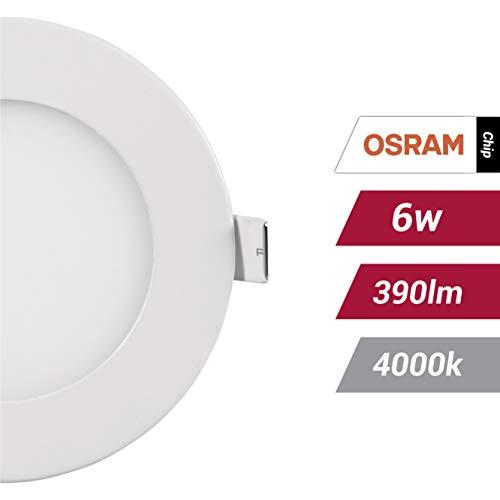 POPP- (Pack x 2 )downlight led Placa LED redondo.6W neutro,chip OSRAM,(4000K, 6W)[Clase de eficiencia energética A+]
