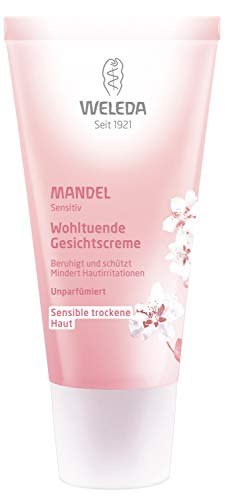 WELEDA Mandel Wohltuende Gesichtscreme, reichhaltige & unparfümierte Naturkosmetik Creme zur Pflege trockener, empfindlicher & sensibler Haut im Gesicht & am Hals für einen gesunden Teint (1 x 30 ml)