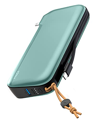IDMIX Travel Charger - 3-in-1 Portable Power Bank, Wall Charger & Built-in USB Type-C Cable - 20000mAh Capacity, Supports PD 65W Fast Charging - External Power Pack for Mobile, Phone, Laptop, Tablet