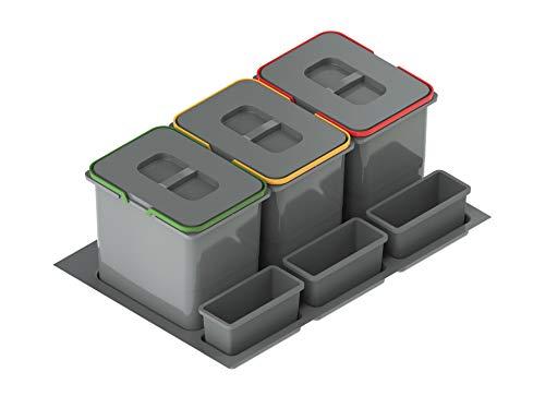 Cubo de basura con 3 compartimentos, sistema de separación de basura, sistema de 3 compartimentos, para armarios de cocina de 80 litros, 3 x 20 litros