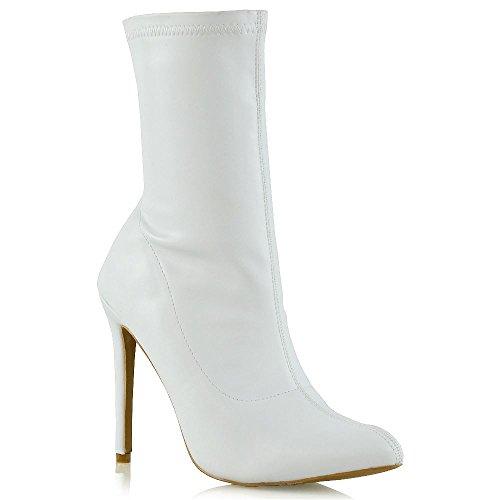 ESSEX GLAM Donna Tacco Alto Bianco Pelle Sintetica Stivali Le Signore Tacco Stiletto Tirare in su Stivaletti EU 36