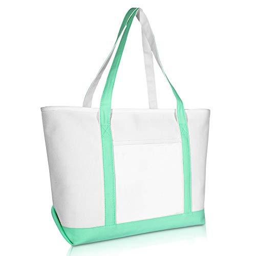 DALIX 23' Premium 24 oz. Cotton Canvas Shopping Tote Bag in Mint Green