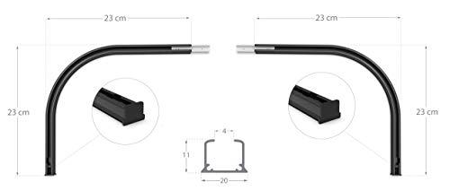 Rollmayer glänzend einläufig Gardinenschiene aus Aluminium (Rundbogen Schwarz Paar) Deckenbefestigung mit SMART-klick Montage, Innenlaufschiene für Vorhänge