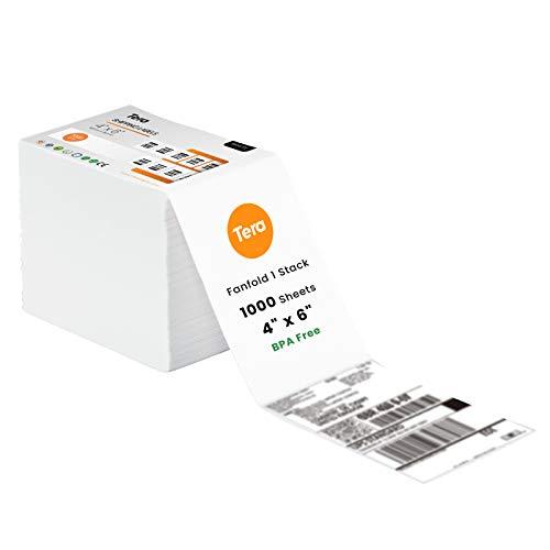 TERA Etichetta Termica Etichette per Spedizioni da 100 mm x 150 mm x 1000 Etichette per Varie Stampanti Senza BPA Etichette Adesive Permanenti per Indirizzi, BA0003