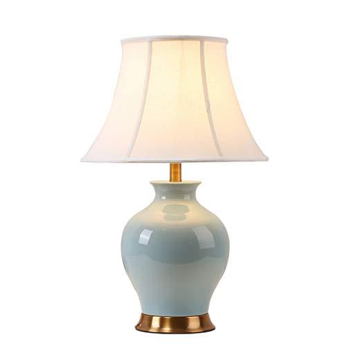 Lampe de bureau En Céramique Nouveau Style Chinois Salon Décor Tissu Ombre Chambre Lampes De Chevet De Cuivre Décoration