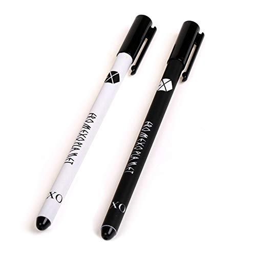 Saicowordist KPOP EXO PLANT thema mooie Q-versie gel pen studenten pen 0,38 mm zwarte inkt hete gift voor fans studentensupplies 2 stuks