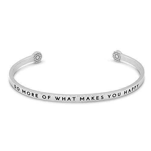 Simple Pledge - Do More of What Makes You Happy - Armreif in Silber mit Gravur für Damen