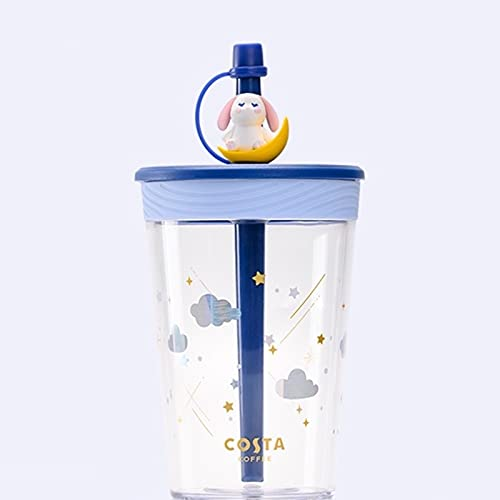 Tumblers de agua fría de plástico reutilizable Copas de café heladas para adultos, niños, peso ligero, botella de agua a prueba de derrames con botella de agua, funda protectora de silicona de botella