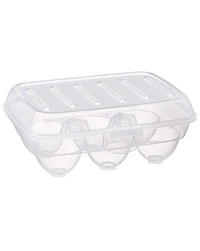 takestop - Huevera de 6 plazas con Separador para Huevos de plástico, Recipiente Transparente para el frigorífico
