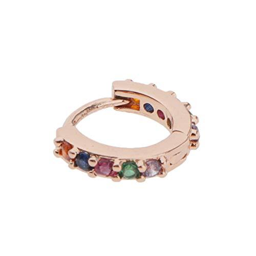 dailymall Small Hoop Cubic Zirconia Lobes Earrings Huggie Conch Piercing Earrings Gift - Rose Gold 6mm