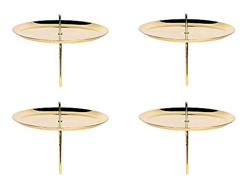 BigDean 4er Set Kerzenteller mit Dorn - Gold glänzend - 10 cm - Kerzenständer rund aus Metall - Kerzenhalter für Adventskranz Deko Kerzen Halter