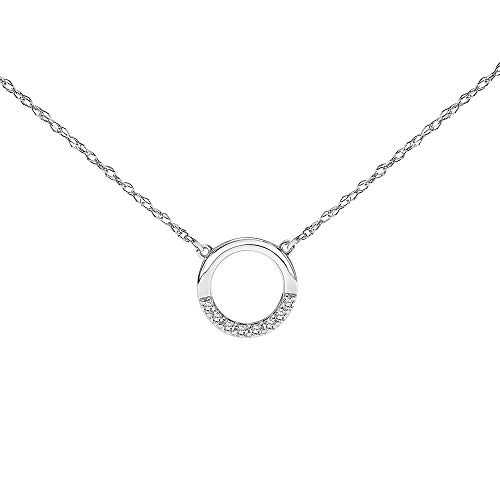 Open Circle Diamond Necklace for Women in 10k White Gold 1/10ct (I-J, I3), 17 inch, by Keepsake