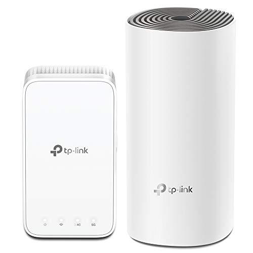 TP-Link Deco E3 AC1200 Mesh Dualband WLAN Router und  Repeater Set (867Mbit/s 5GHz, 300Mbit/s 2,4GHz, Abdeckung bis zu 223m², App Steuerung, kompatibel zu allen WLAN Geräten, 2er Set) weiß