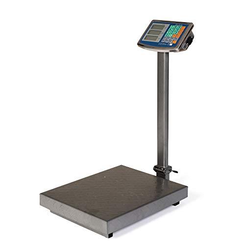Bilancia professionale digitale con piatto in acciaio 300 kg da terra bascula