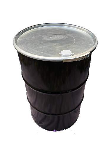 200 Liter Metallfass Schwarz mit Deckel Stahlfass Feuertonne Metalltonne Fass Blechfass Stehtisch Regenfass Regentonne Ölfass