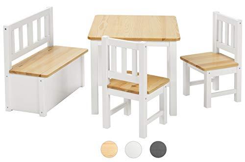 Bomi Kindersitzgruppe Anna mit integrierter Spielzeugkiste | Kindertruhenbank aus Kiefer Massiv Holz...
