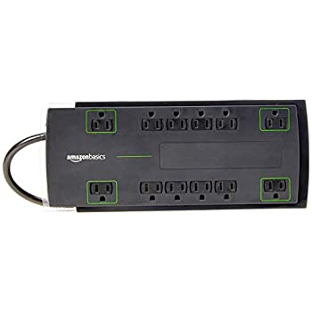 Amazon Basics 12-Outlet Power Strip Surge Protector | 4,320 Joule 8-Foot Cord
