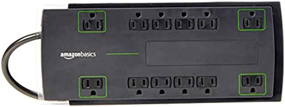 Amazon Basics 12-Outlet Power Strip Surge Protector | 4,320 Joule, 8-Foot Cord