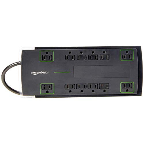 Amazon Basics 12Outlet Power Strip Surge Protector | 4320 Joule 8Foot Cord
