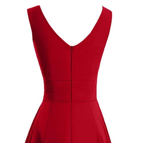 SHOBDW 2020 Vestidos de Fiesta Mujer Cortos Color Sólido Vestido Mujer Sin Mangas Cuello Redondo Cintura Alta Sexy Elegantes Dama de Honor Mini Vestidos Mujer Tallas Grandes S-5XL(Rojo,XXL)