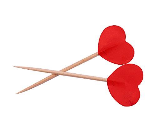 Folat 61562 Party Picks rot Valentine Herzen 6,5cm (50Stück)