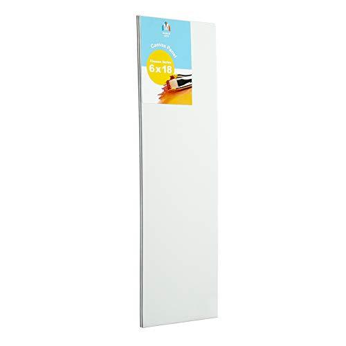 "Markin Arts Finesse Heat Pressed Hi-Density Acid/Discolor Free 100% Cotton Medium Weight 10oz Triple Titanium Acrylic Gesso Primed Vertical Horizontal Long Art Canvas Panel Board Oil 6x18"" 2-Pack"