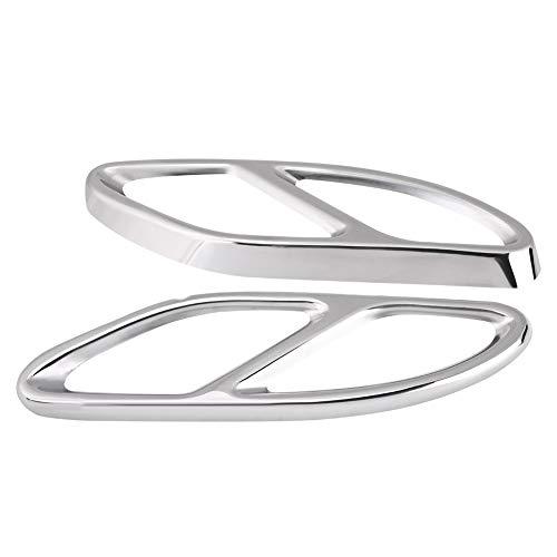 Auspuffblende - 1 Paar Auspuffblende Blende silber für Mercedes Benz GLC C E-Klasse C207 Coupe 14-17 (Farbe : Silber)