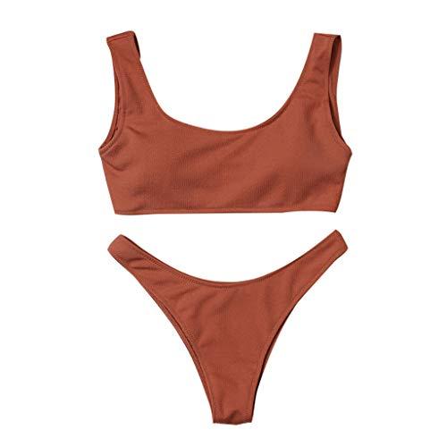Bikinis Sexys Conjuntos Traje de baño Mujer Dos Piezas POLP Amarillo Negro Conjuntos Chaleco Sujetador Tangas Sexy Mujer Ropa de baño Verano Playa Bikinis Tallas Grandes Mujer 2019